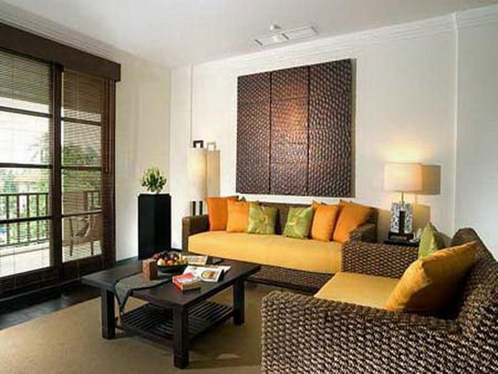 Living Room Designs For Small Rooms Part - 47: Apartment Living Room Decorating Ideas With Wicker Chairs And Orange Seat  Cushions Stylish Small Living Room Design Ideas