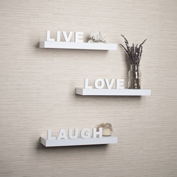 White Laminate 'Live, Love, Laugh' Inspirational Wall Shelves (Set of 3) | Overstock.com Shopping - The Best Deals on Accent Pieces
