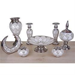 8 Parça Gümüş Baklava Desenli Salon Set