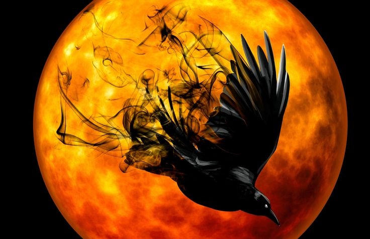 Amazing Crow in Front of the Moon: Halloween Cross Stitch Pattern and Printable Image