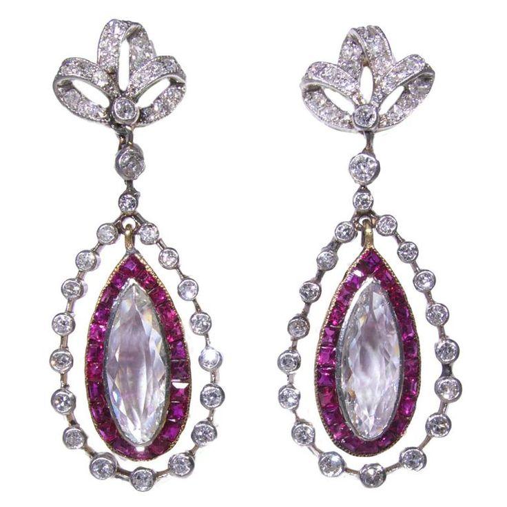 Edwardian ruby diamond platinum earrings | From a unique collection of vintage dangle earrings at https://www.1stdibs.com/jewelry/earrings/dangle-earrings/