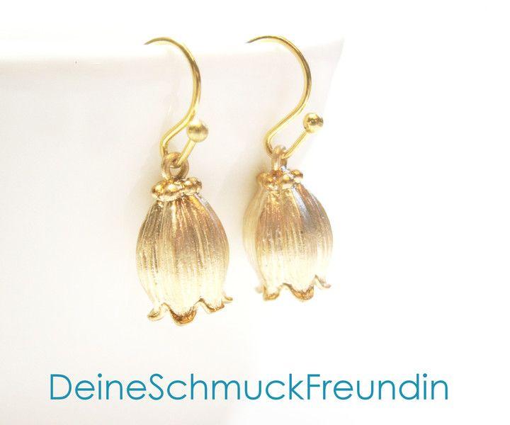 Ohrringe vergoldet Blumen von DeineSchmuckFreundin - Schmuck und Accessoires auf DaWanda.com