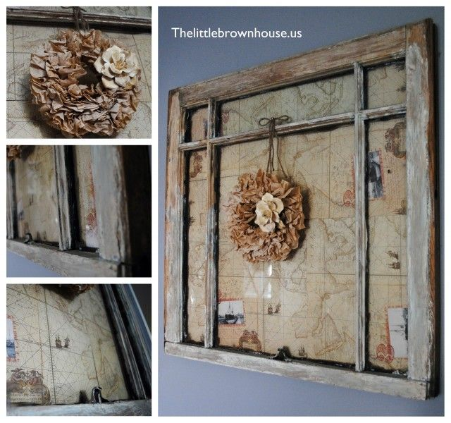 I redid an old window with map paper then added a mini for Old window craft projects