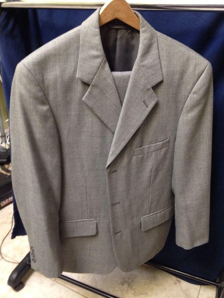 Egon Von Furstenberg Men's Gray 3 Button Gray Two Piece Suit 40R…