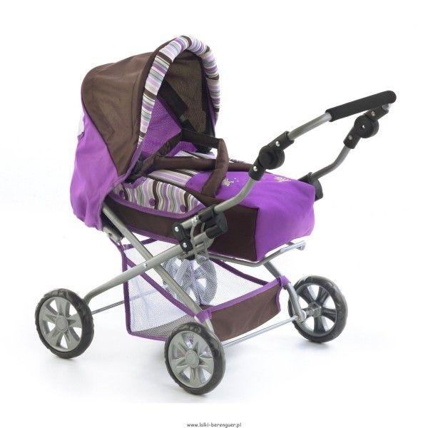 Głęboki wózek dla lalek - Piccolina - niemiecka firma Bayer Chic 2000. Wysokość rączki jest regulowana od 41 do 64cm, solidna konstrukcja wózeczka sprawia, że jest on bardzo wytrzymały. Czekoladowo-fioletowa kolorystyka!