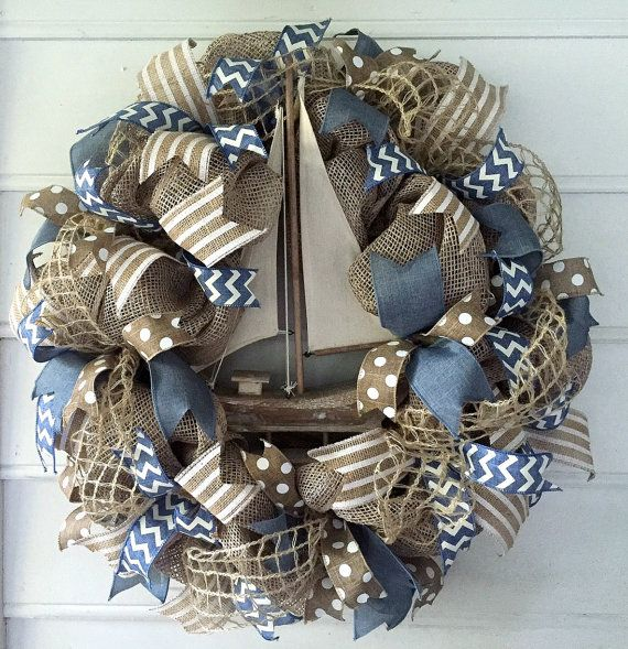 Sailboat Decor. Sailboat Deco Mesh. Wreath for Door or Porch. Sailboat Decor. Type SAILBOAT1 in coupon code box for 20% off Today Only!