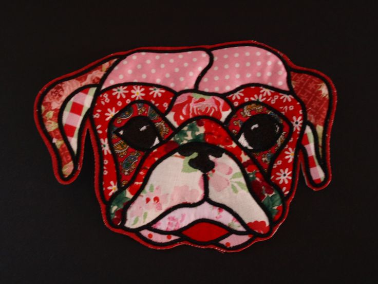Large Pug Applique and Embroidered Sew on Iron On Stick on Glue On Patch Accessory Motif by woosbagsandcrafts on Etsy