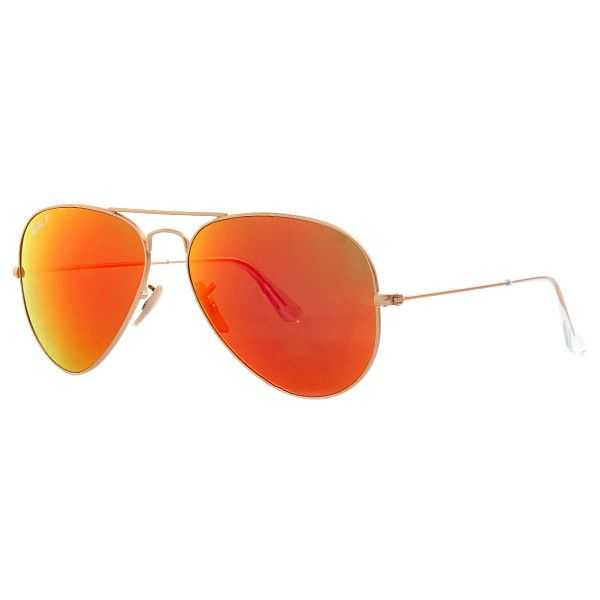 Ray-Ban Sunglasses - Aviator RB 0Rb 3025 58 112/4D - in orange -... ($220) ❤ liked on Polyvore featuring accessories, eyewear, sunglasses, orange, wayfarer sunglasses, mirror sunglasses, mirrored aviators, wayfarer mirror sunglasses and orange lens sunglasses
