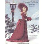 """P-040 - 1875 Winter Carriage Costume     This exquisite vintage costume is created from size 10 crochet cotton thread and matching rayon or pearl cotton threads for the ruffles. The ensemble is then carefully trimmed with pleated ribbons and roses, bows and braid. The doll carries a sweet little muff and a realistic bonnet keeps her head warm. This beautifully photographed pattern book is created for 11 1/2"""" fashion dolls.   Includes skirt, jacket, muff, bonnet & boots"""