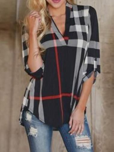 Popular Fashion Gingham V Neck 3/4 Sleeve Loose T-Shirt Tops – oshoplive