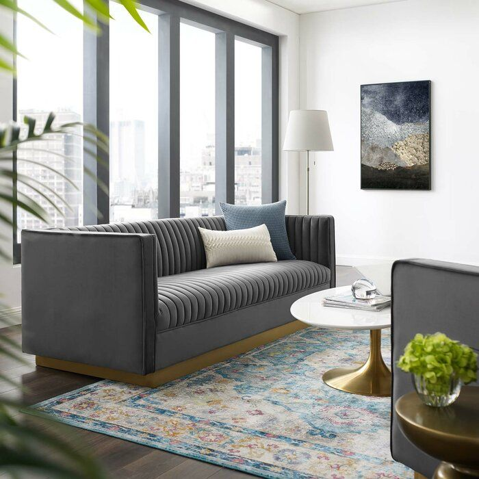 Curtin Standard Sofa Retro Modern Living Room Contemporary Modern Furniture Sofa Pillow Sets