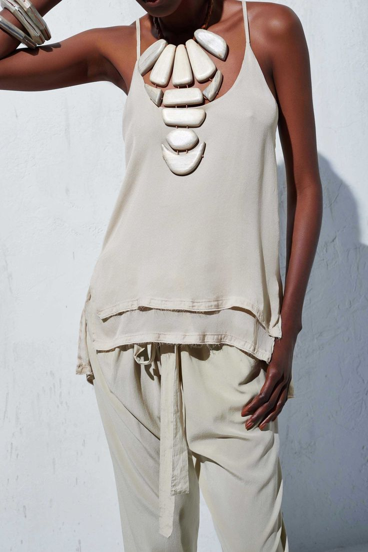 sand tone - Silk Chiffon Cami Top by Urban Zen