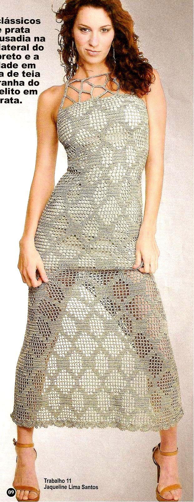Crochetemoda: Vestido de Crochet Prata