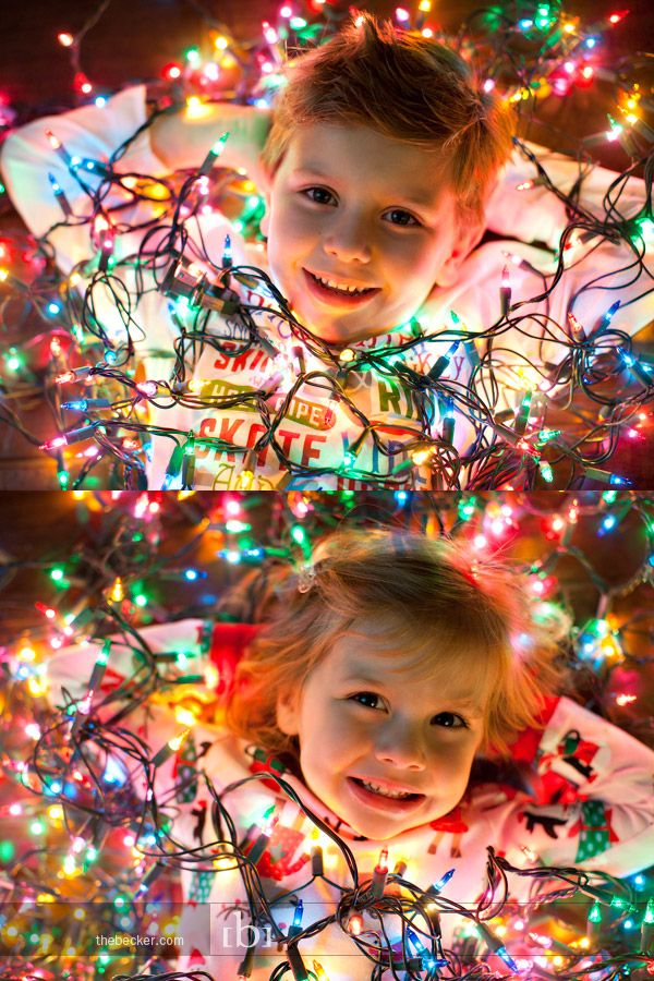 Strings of Christmas lights are the perfect photo prop to wish your loved ones a very merry and bright holiday season.