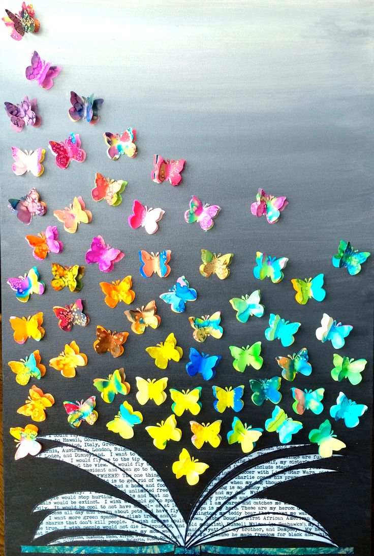 3rd Grade Lawton Auction Art Project.  Watercolor butterflies on acrylic painted canvas.