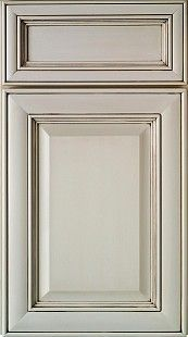Country French: This extremely popular European Country or Old World style door is a mitered corner construction with a soft radius frame. This style shows off glazing and distressing well. Note the drawer center panels are recessed and the door center panels are raised.