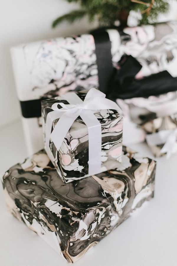 DIY Marbled Gift Wrap Tutorial