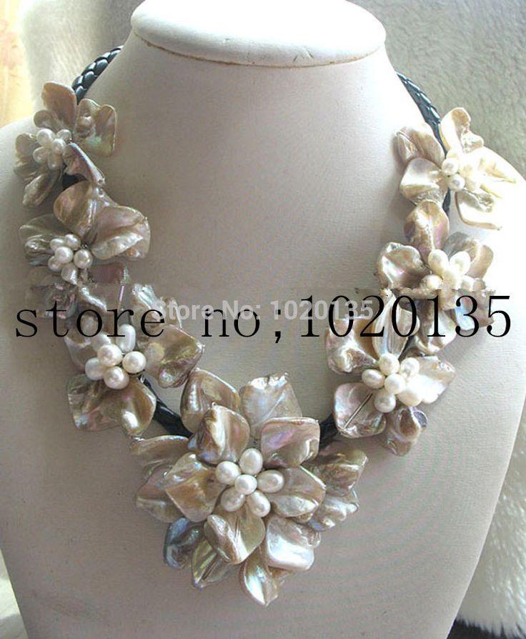 WOW!  perla d'acqua dolce bianco del riso e conchiglia collana di fiori 18inch natura