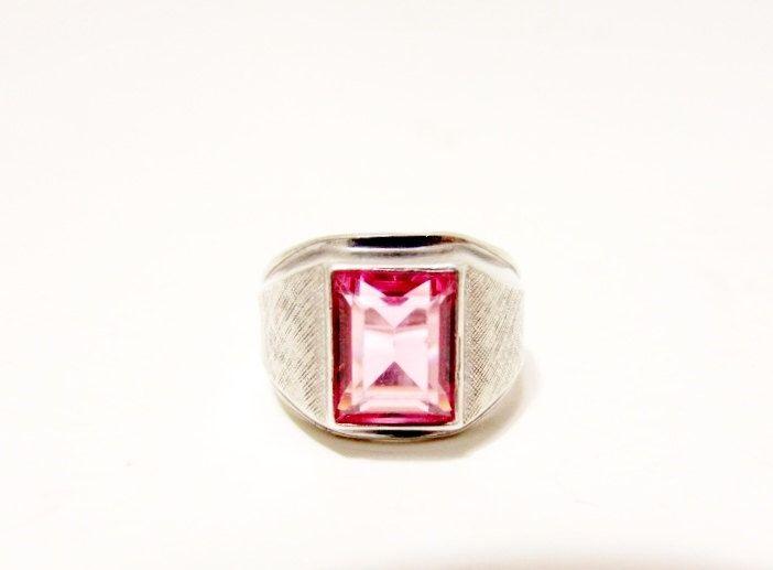 Vintage Sterling Men's Pink Gemstone Ring - Sterling Silver Unisex Rectangle Pink Sapphire Ring - Brushed Sterling Men's  Ring Size 9 by GranvilleGallery on Etsy https://www.etsy.com/listing/398057869/vintage-sterling-mens-pink-gemstone-ring