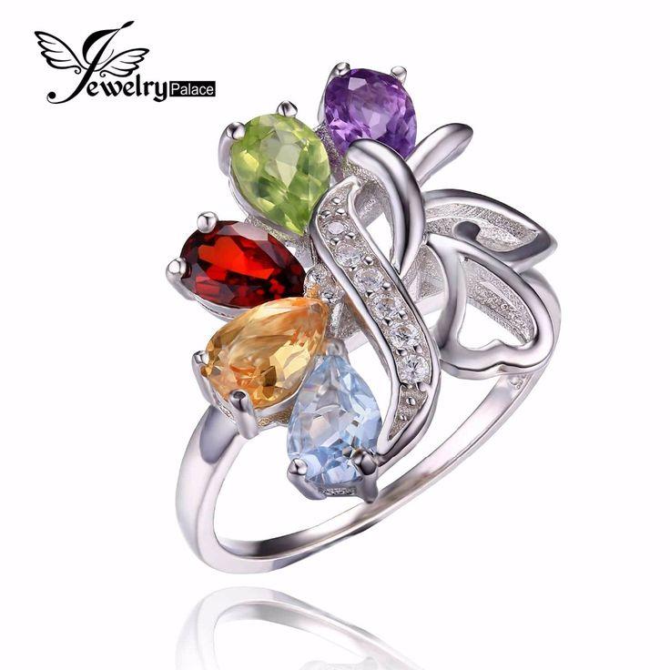 Genuine Amethyst Citrine Garnet Peridot Sky Blue Topaz Cocktail Ring Solid 925 Sterling Silver Hot Sale Charm Jewelry For Women www.bernysjewels.com #bernysjewels #jewels #jewelry #nice #bags