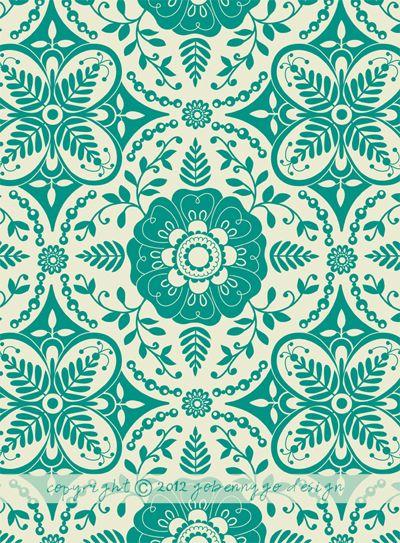 print & pattern: DESIGNER - go benny go aqua turquoise green