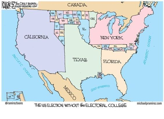 They say a picture is worth a thousand words. I've written more than that combined here, here and here. But for anyone who is still on the fence on whether the Electoral College should be abandoned for the popular vote, maybe this from Michael Ramirez will help: The popular vote is vastly unfair to those in rural areas and smaller states. Our Founders contemplated and | Read More »