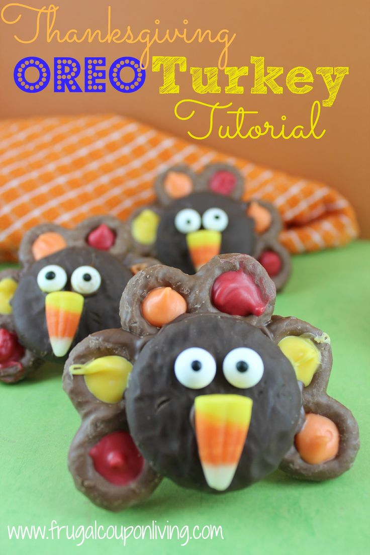 Chocolate Covered OREO Turkey - Kids Food Craft Recipe featured on Rachael Ray. Thanksgiving Tutorial on Frugal Coupon Living