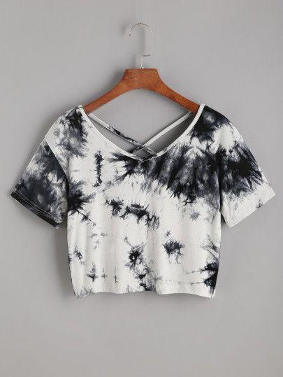 Camiseta corta con estampado tie dye de espalda cruzada -Spanish SheIn(Sheinside) Sitio Móvil
