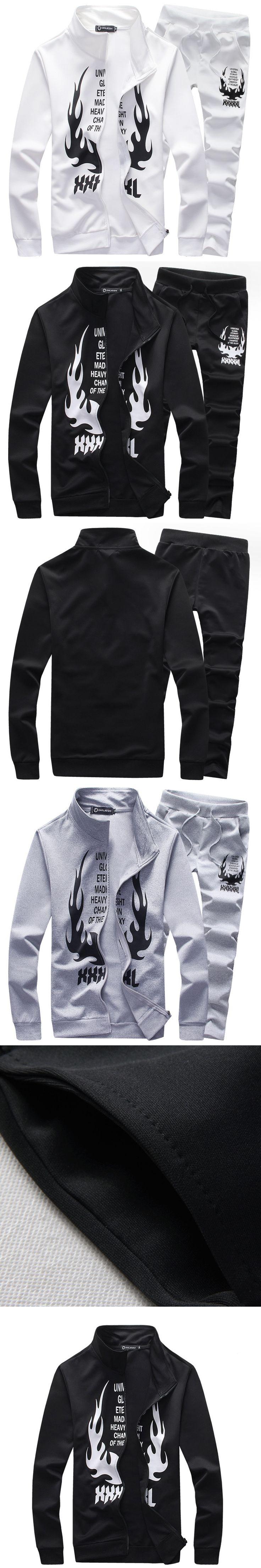 2017 brand warm sporting suit men winter clothes Zipper polo sweat suits men set track letter Flame print tracksuit survetement