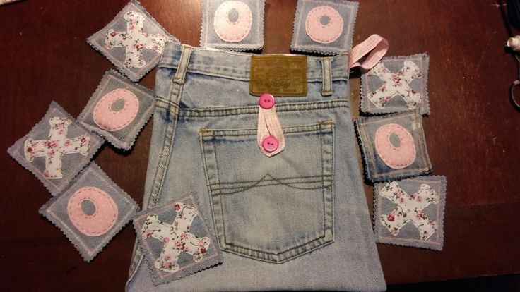 Travel Tic-Tac-Toe boards made out of recycled fabric/ jeans