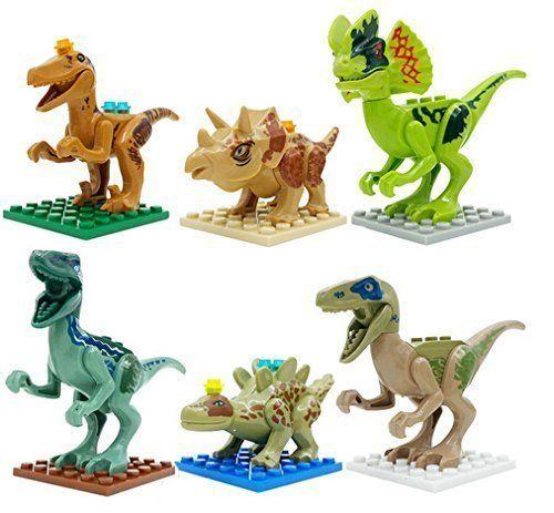 6pcs jurassic park movie figures building blocks sets the jurassic world minifigures bricks model to