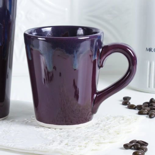 Ceramic Coffee mug, BlueRoomPottery Eggplant Purple Colorful Cute cone tea cup handmade pottery Kitchen gift