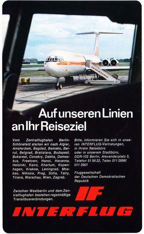"""Interflug advertisement. Ich wusste nicht,wohin man in der DDR überall hin """"könnte""""??"""