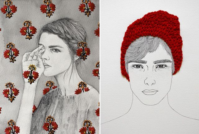 We've been seeing a lot of embroidered art as of late but I must say that so far, I've been most impressed by Singaporean artist Izziyana Suhaimi's work. I can't get over how skillfully she is able to incorporate ornate embroidery techniques with her own pencil drawings and watercolors, pushing the boundaries of traditional and popular culture. Simply beautiful.