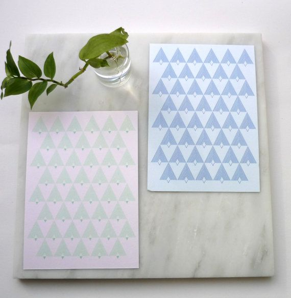 Set of 2 Cards  Graphic Print & Envelope  by AlvisPaperMarket