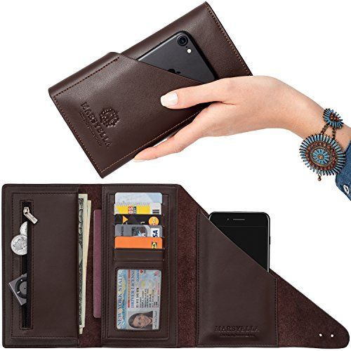 Dark Brown All-in-One Large Leather Wallet for Women - Phone Case Wallet 2e5afb1c78