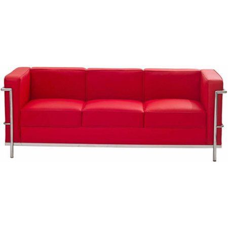 Modway LC2 Leather Sofa, Multiple Colors, Red