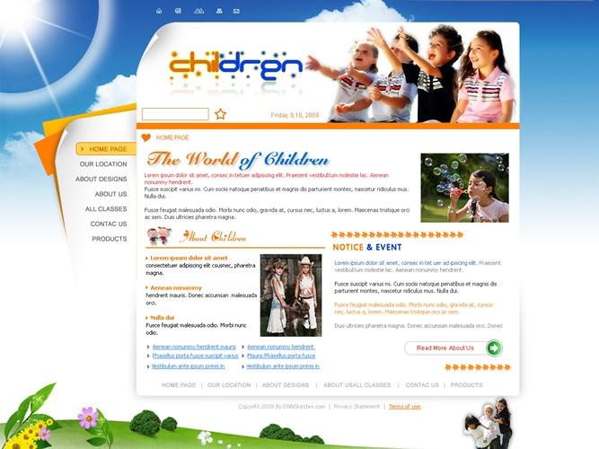 Orange Children Xhtml W3C Standards CSS Skin 003 for DNN 4