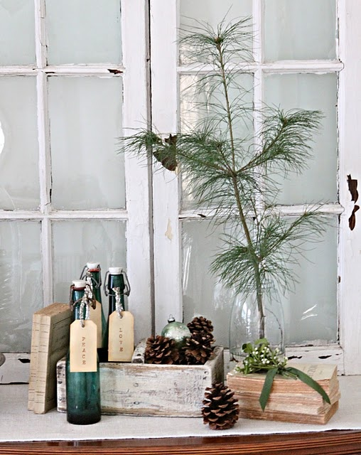 Vintage mason jar to hold tree seedling, old German beer bottles, stacked books, a perfectly faded ornament, and a vintage caddy to create a look that will work for Christmas and into the winter months as well. Complete the vignette with hand stamped tags saying peace, love, joy.