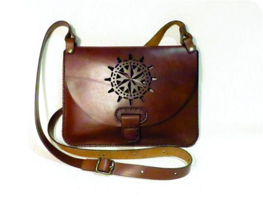 WHEEL 25cm X 18cm CROSSBODY CLUTCH BAG Genuine leather, Laser cut, Hand stitched