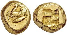 Very Rare Electrum Stater from Kyzikos, Mysia c. 500-450 BC The coin shows a winged deer with a tunny fish below; an incuse quadripartite square is on the reverse. Kyzikos (Cyzicus) was a city in the region of Mysia in the northwest of ancient Asia Minor or Anatolia (modern Balıkesir Province, Turkey). The city was said to have been founded by Pelasgians from Thessaly, according to tradition at the coming of the Argonauts; later it received many colonies from Miletus, allegedly in 756 BC…