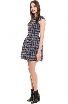 Simple - Sukienka w pepitkę krótka rozszerzana