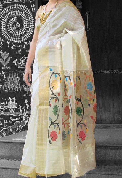 Stunning Dupion Silk Saree with Woven Zari borders