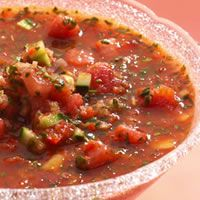 Watermelon Gazpacho --- The delicate flavors of cucumber and watermelon go hand in hand to create a sweet and savory chilled soup.
