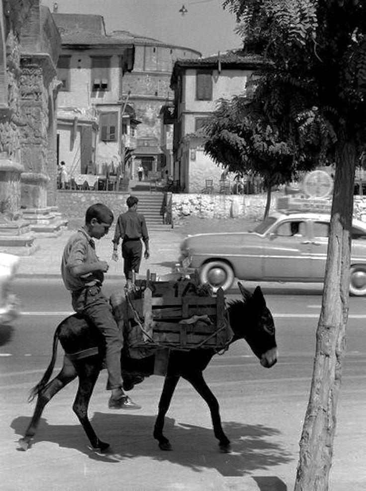 Γαϊδουράκι και αυτοκίνητα στην Εγνατία, μπροστά στην Καμάρα, το 1962