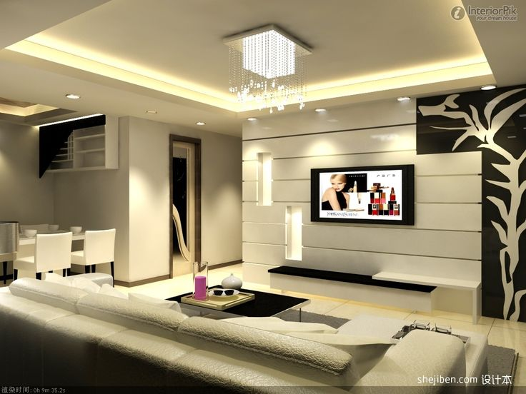 Tv On Wall Ideas Image Of Modern Unit Units Pertaining To Dimensions 1346 X 783 Small Living Room With