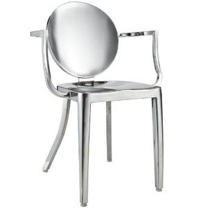 LexMod Philippe Starck Style Louis Ghost Chair - Polished Stainless Steel