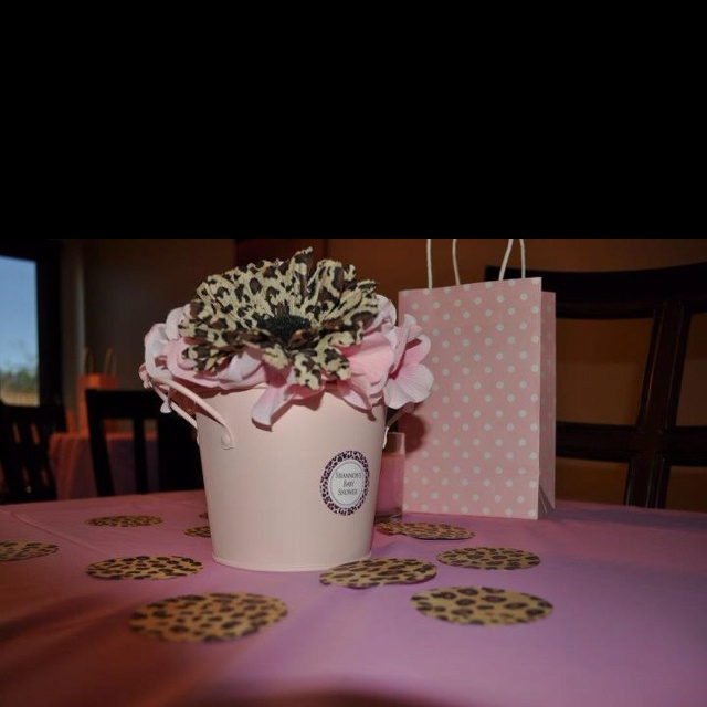 Pink And Leopard Baby Shower Centerpiece
