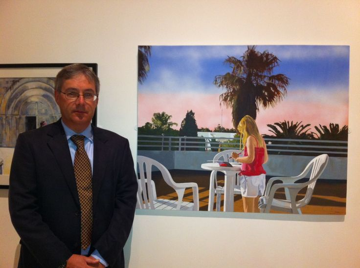 At the Surrey Open Artists Exhibition, Lightbox Gallery, Woking with my painting 'Sketches of Spain'.
