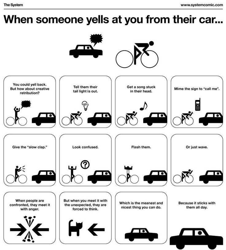 For the bike folk: Bicycles, The Roads, Funny Things, Yelling, Bikes, Cars, Cycling, Slow Clapping, Funny Stuff